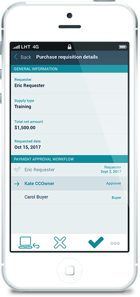 Esker's procurement requisition solution on mobile