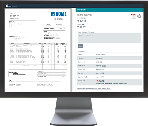 Esker's payment software showing the side by side invoice screen